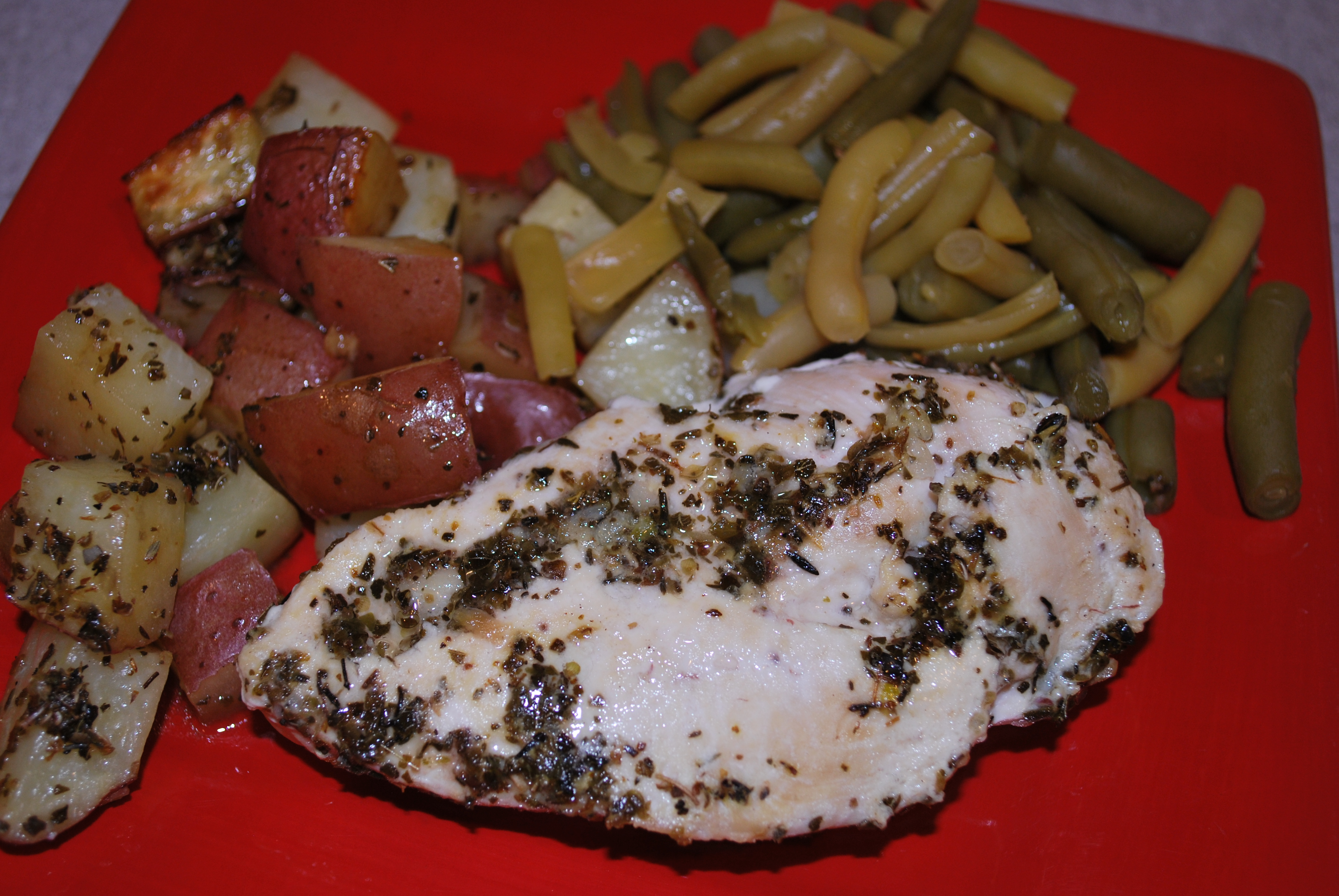 ... : Roasted Greek Chicken and Potatoes in Lemon-Oregano Vinaigrette
