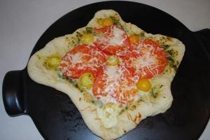Mozzarella, Tomato and Basil Pizza