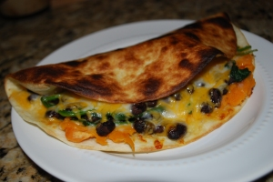 Sweet Potato, Black Bean, and Spinach Quesadilla